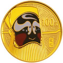 中国京剧脸谱彩色第1组金质纪念币