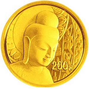 中国石窟艺术云冈金质200元图片