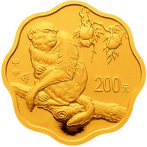 2004中国甲申猴年梅花形金质200元图片