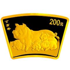 2007中国丁亥猪年扇形金质纪念币