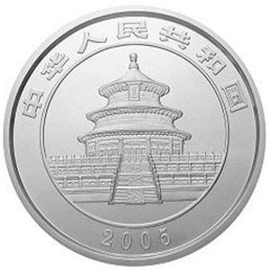 2005版熊猫银质50元图片