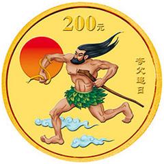 中国民间神话故事彩色(第2组)金质纪念币