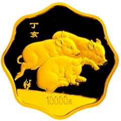 2007中国丁亥猪年梅花形金质(10000元)纪念币