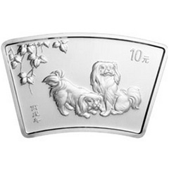 2006中国丙戌狗年生肖扇形银质纪念币