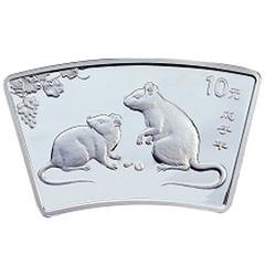 2008中国戊子鼠年扇形银质纪念币