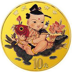 中国传统吉祥图吉庆有余彩色金质图片