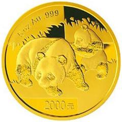 2008版熊猫金质(2000元)纪念币