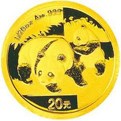 2008版熊猫金质(20元)纪念币
