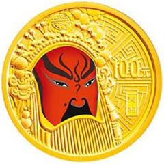 中国京剧脸谱彩色(第2组)金质纪念币