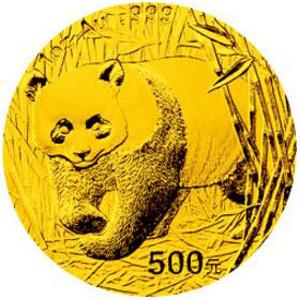 2002版熊猫金质500元图片