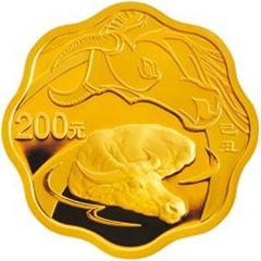 2009中国己丑牛年梅花形金质(200元)纪念币