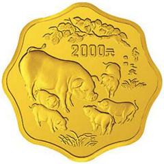 中国乙亥猪年梅花形金质(2000元)纪念币