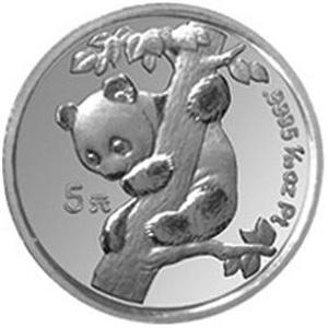 1996版熊猫铂质5元图片