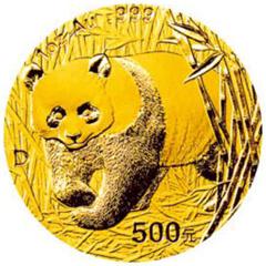 2001版熊猫金质(500元)纪念币